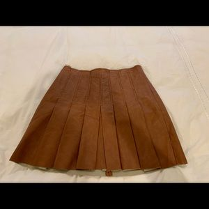 ASTR copper brown leather pleated skirt